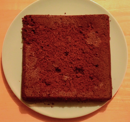 Upside down chocolate brownie slab...is it just me or is that a face?