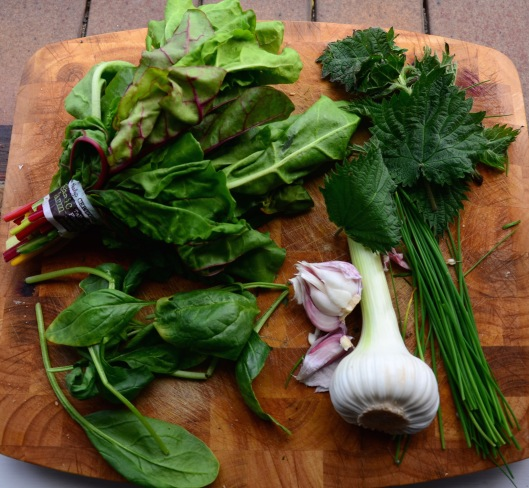 Spinach, chard, nettles, chives & wet garlic