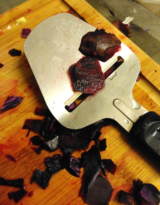 The Vegan's use of a cheese slicer- beet peeling!